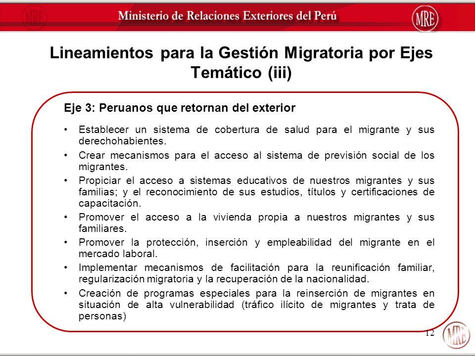 Lineamientos para la Gestión Migratoria por Ejes Temático (iii)