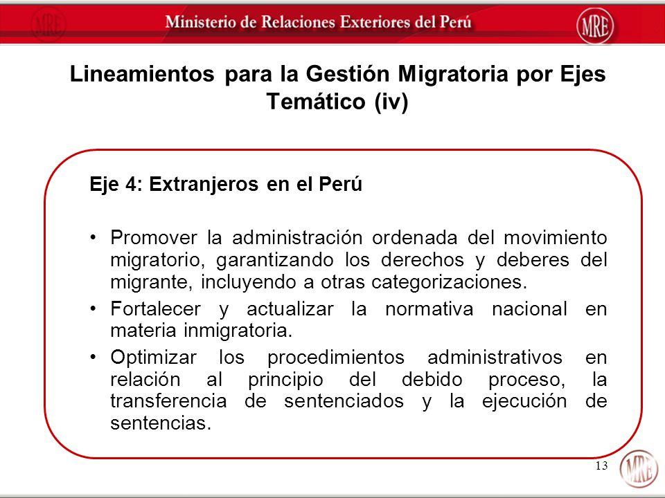 Lineamientos para la Gestión Migratoria por Ejes Temático (iv)
