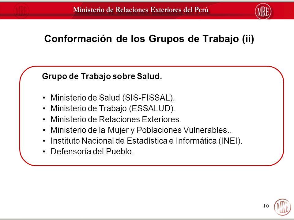 Conformación de los Grupos de Trabajo (ii)
