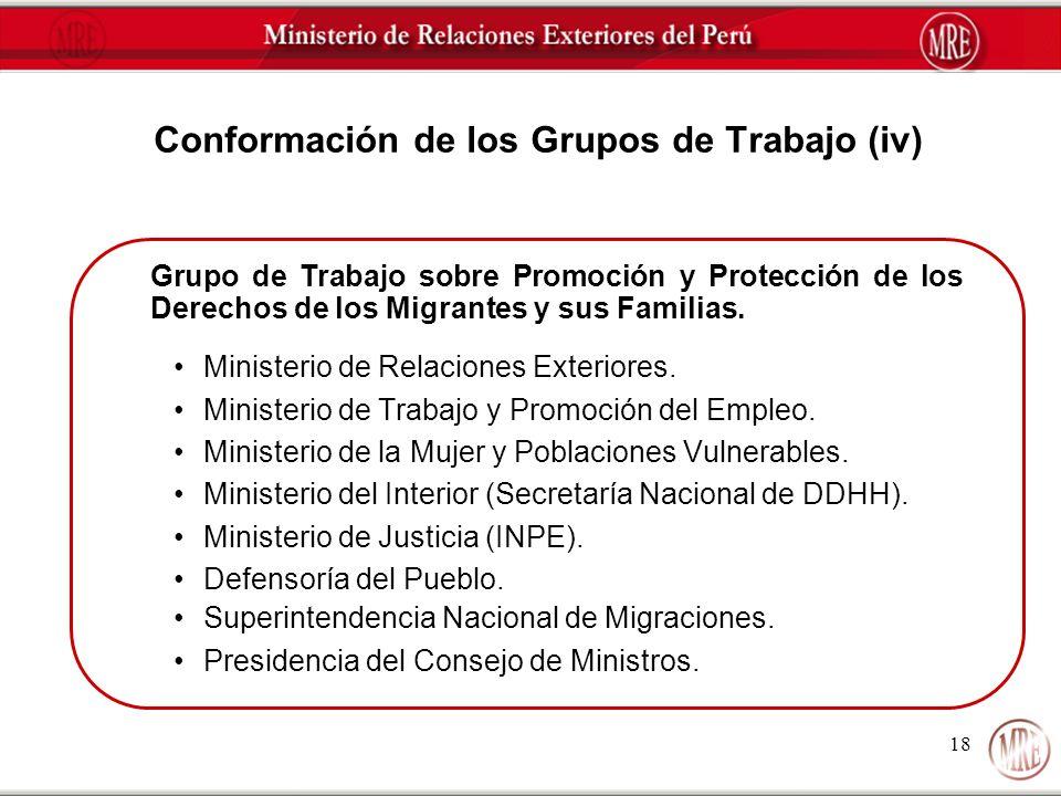 Conformación de los Grupos de Trabajo (iv)