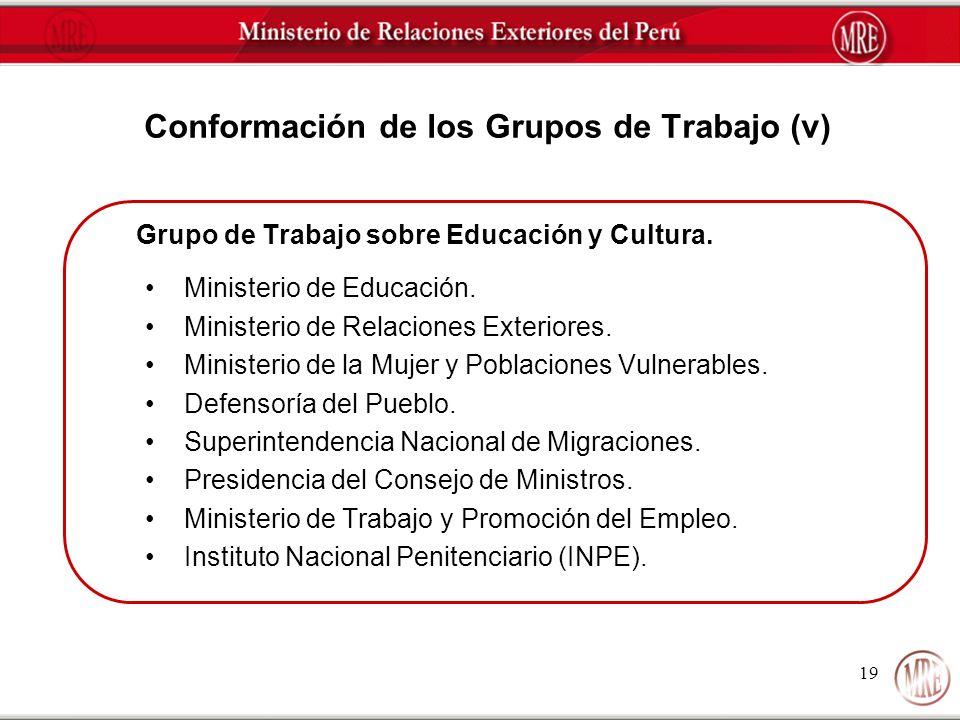 Conformación de los Grupos de Trabajo (v)