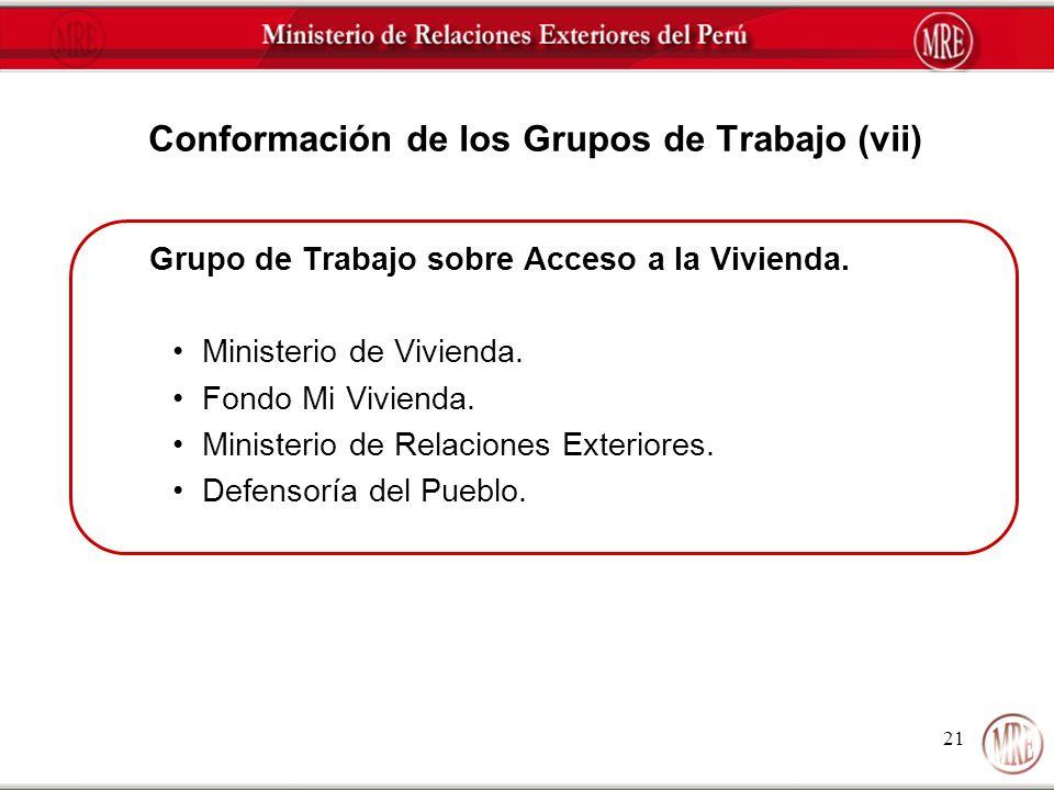 Conformación de los Grupos de Trabajo (vii)