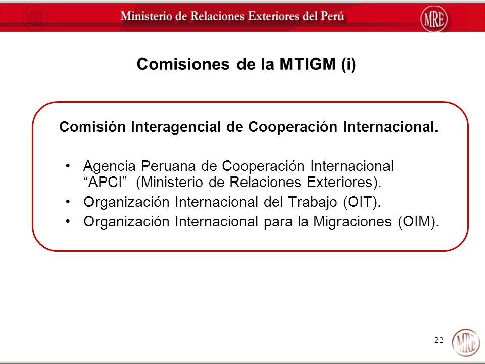 Comisiones de la MTIGM (i)