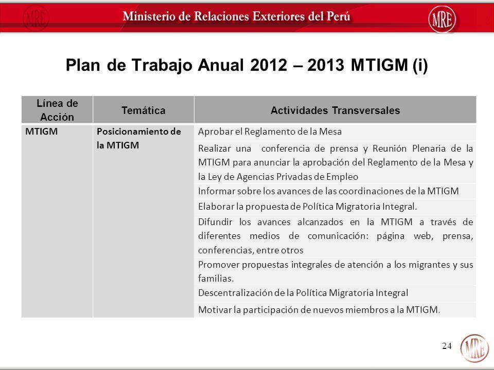 Plan de Trabajo Anual 2012 – 2013 MTIGM (i)