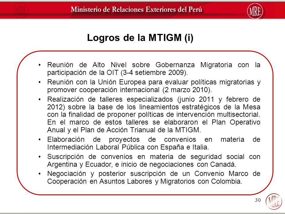 Logros de la MTIGM (i) Reunión de Alto Nivel sobre Gobernanza Migratoria con la participación de la OIT (3-4 setiembre 2009).