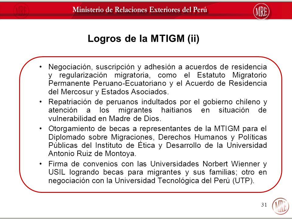 Logros de la MTIGM (ii)