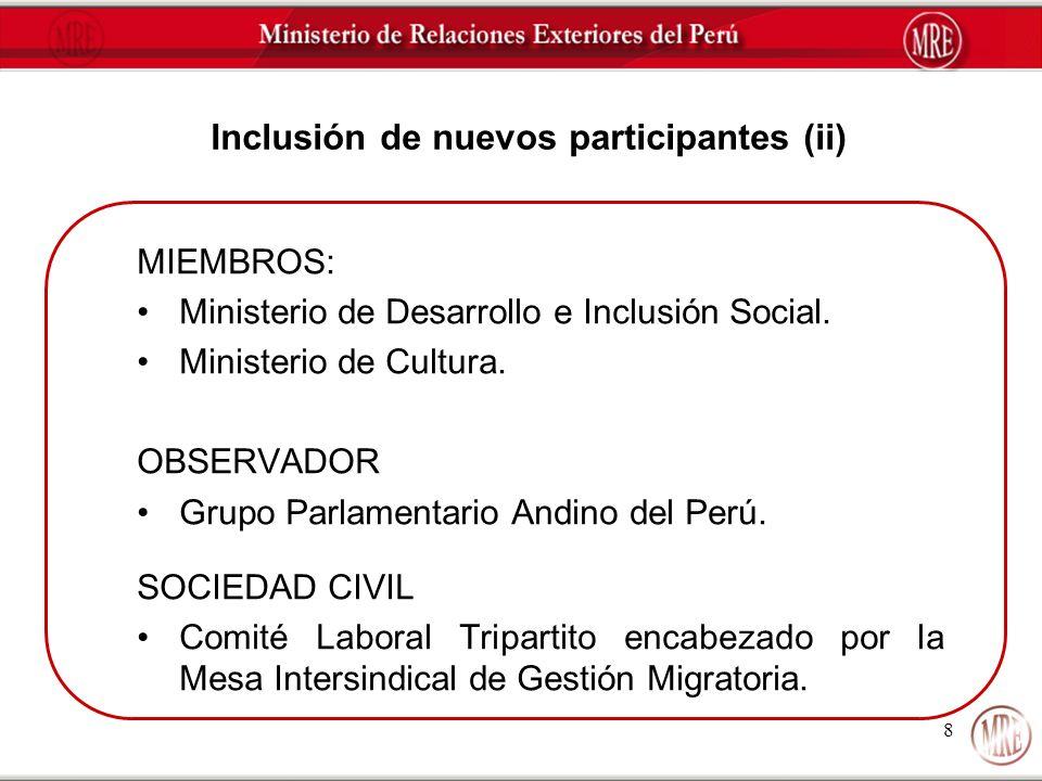 Inclusión de nuevos participantes (ii)