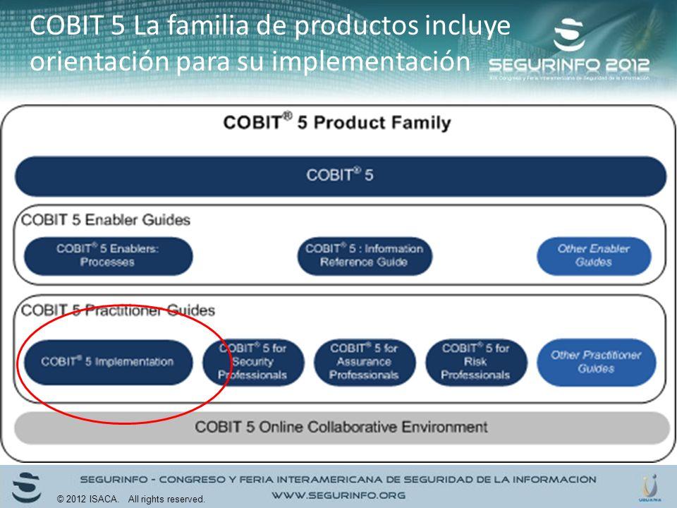 COBIT 5 La familia de productos incluye orientación para su implementación
