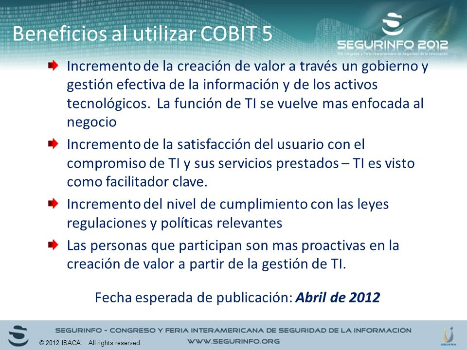 Beneficios al utilizar COBIT 5