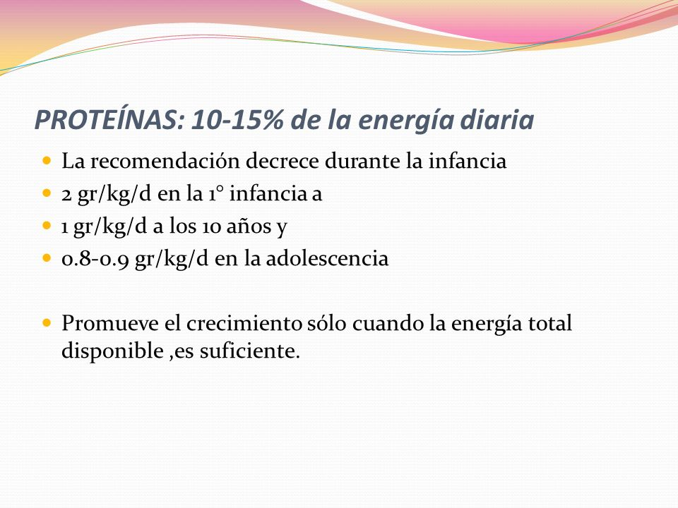 PROTEÍNAS: 10-15% de la energía diaria