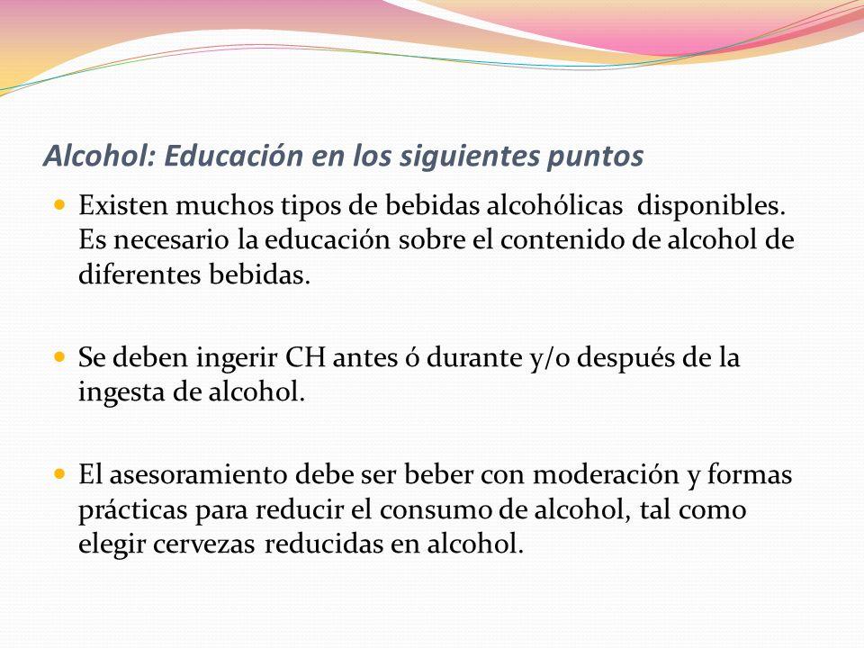 Alcohol: Educación en los siguientes puntos
