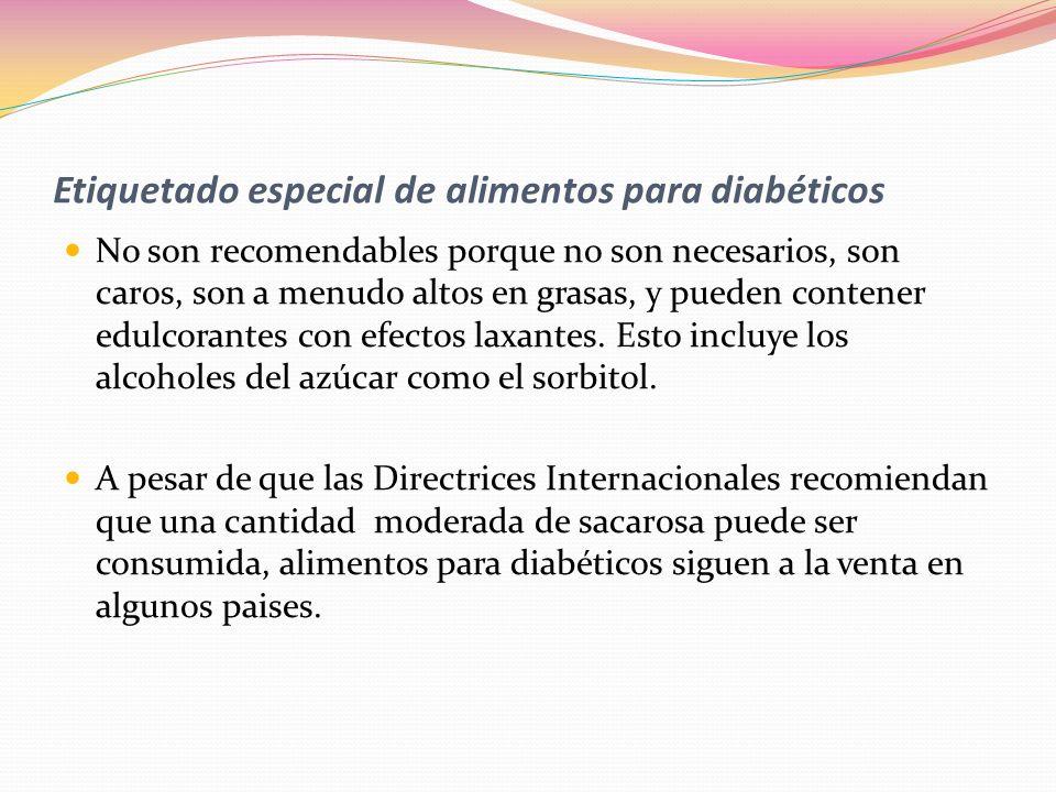 Etiquetado especial de alimentos para diabéticos