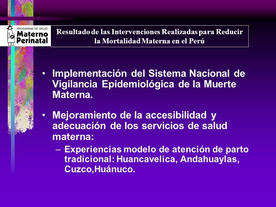 Resultado de las Intervenciones Realizadas para Reducir la Mortalidad Materna en el Perú