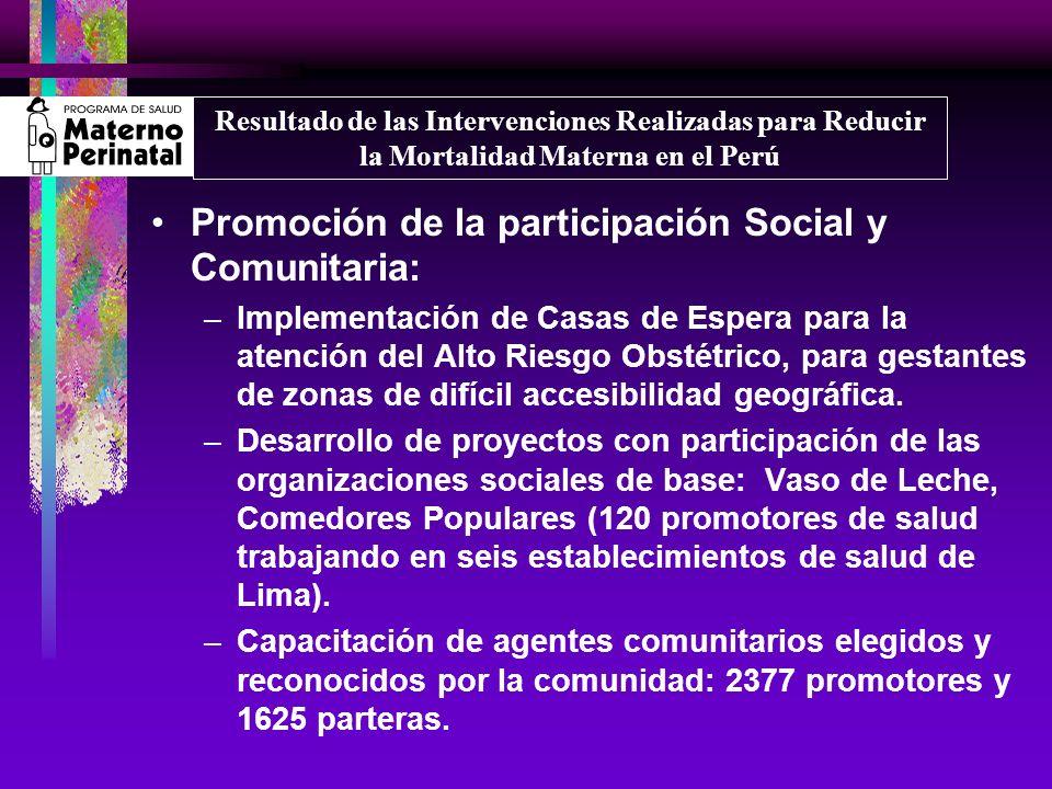 Promoción de la participación Social y Comunitaria: