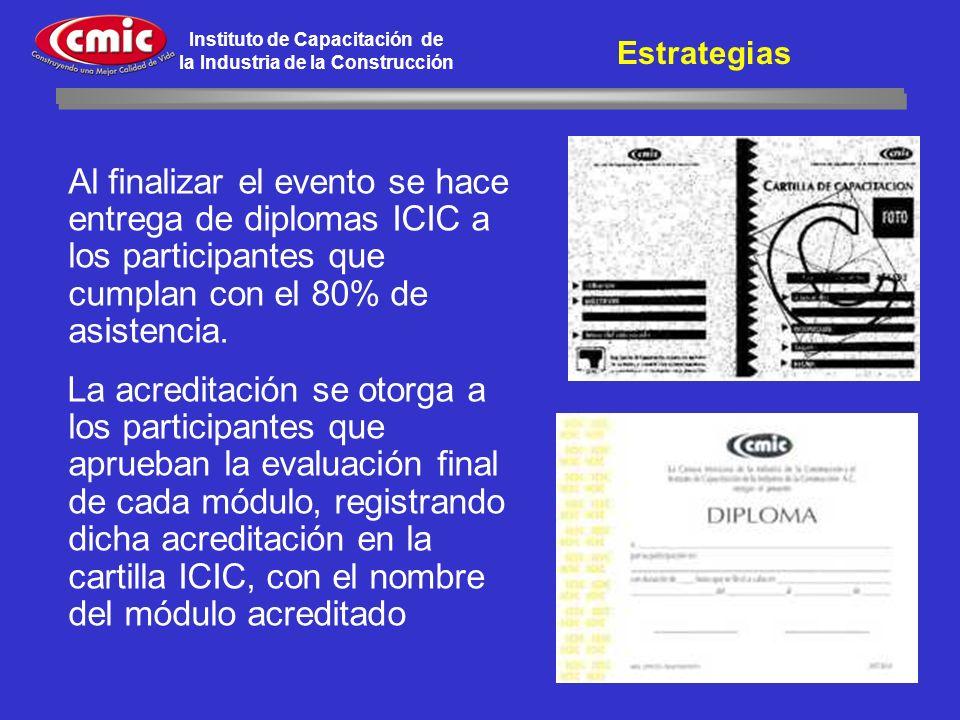 Estrategias Al finalizar el evento se hace entrega de diplomas ICIC a los participantes que cumplan con el 80% de asistencia.