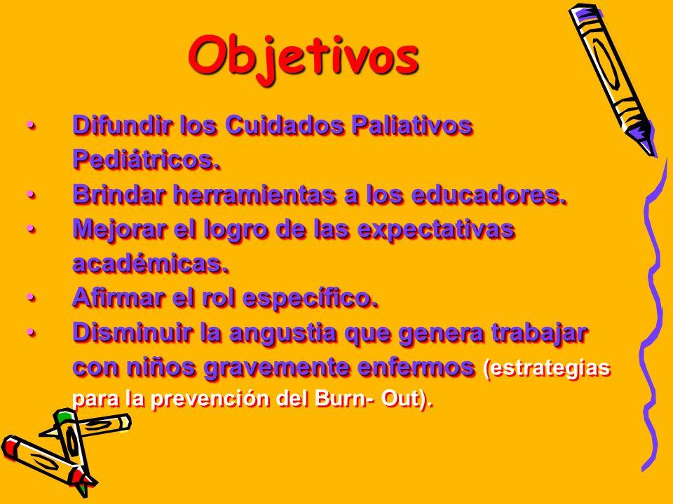 Objetivos Difundir los Cuidados Paliativos Pediátricos.