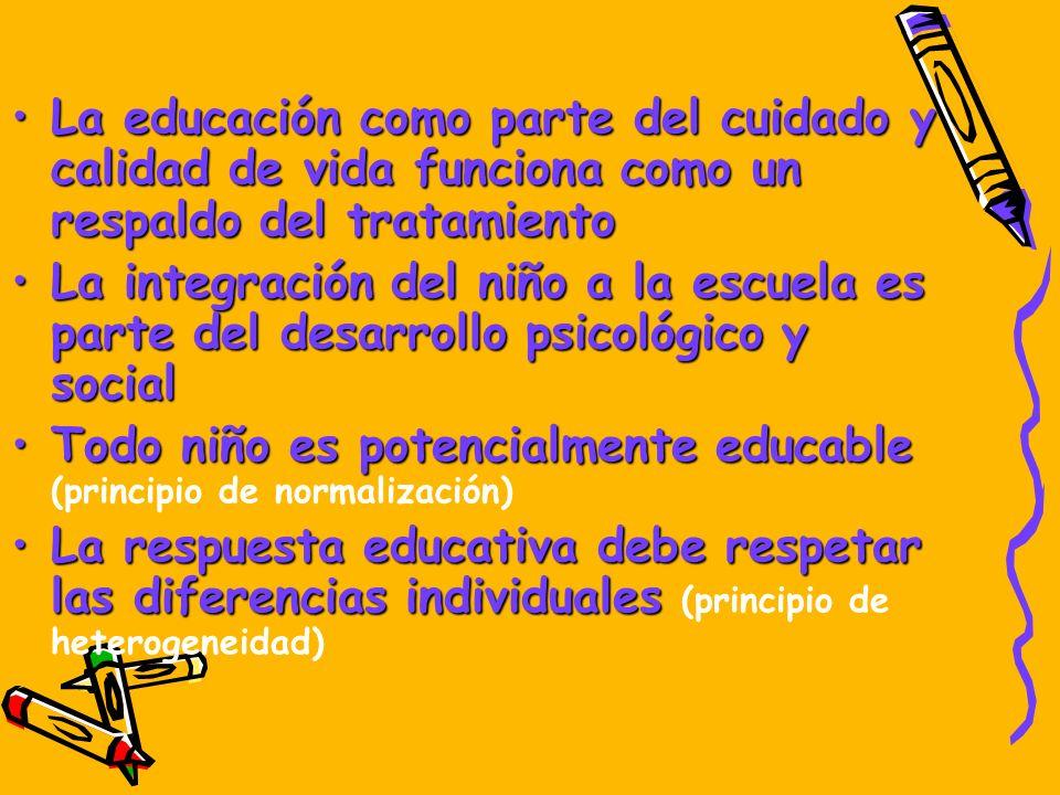 La educación como parte del cuidado y calidad de vida funciona como un respaldo del tratamiento