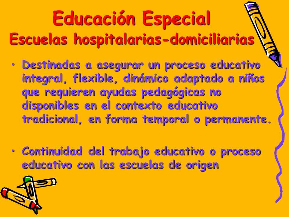 Educación Especial Escuelas hospitalarias-domiciliarias