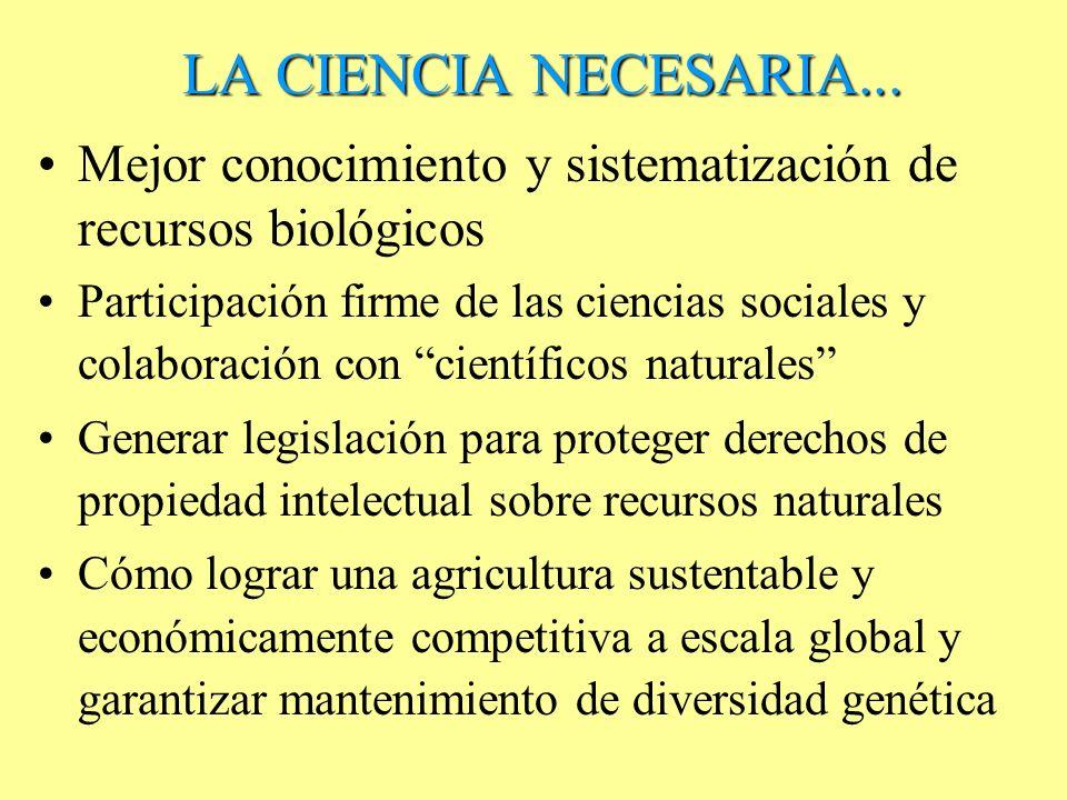 LA CIENCIA NECESARIA... Mejor conocimiento y sistematización de recursos biológicos.
