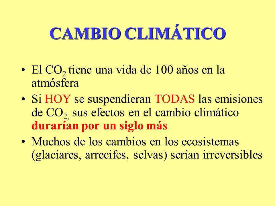 CAMBIO CLIMÁTICO El CO2 tiene una vida de 100 años en la atmósfera