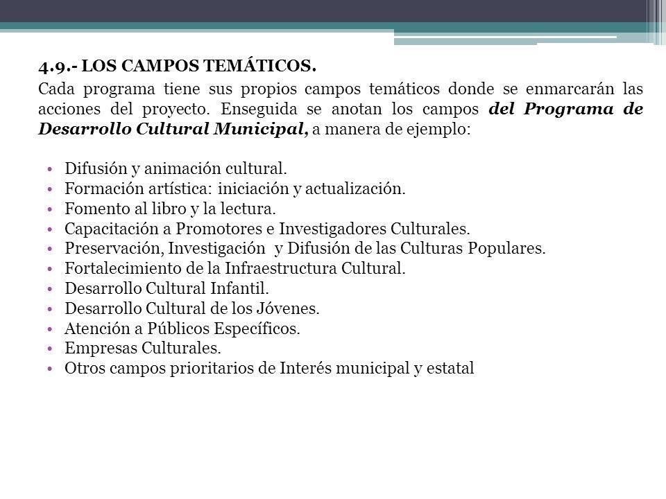 4.9.- LOS CAMPOS TEMÁTICOS.