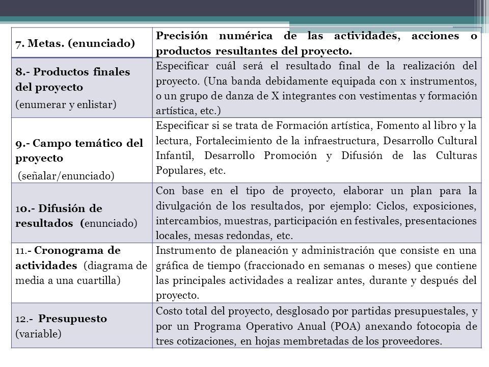 7. Metas. (enunciado) Precisión numérica de las actividades, acciones o productos resultantes del proyecto.