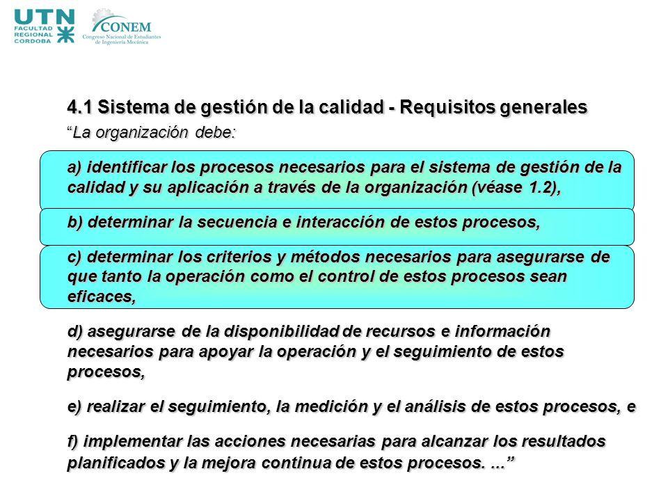 4.1 Sistema de gestión de la calidad - Requisitos generales