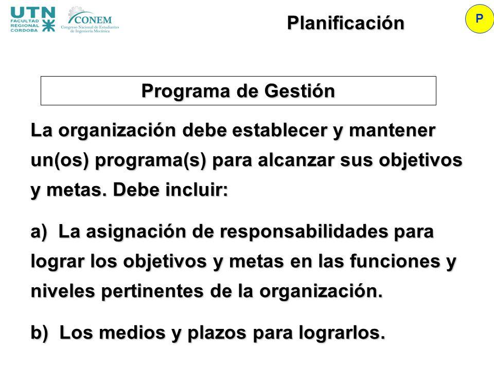 Planificación Programa de Gestión