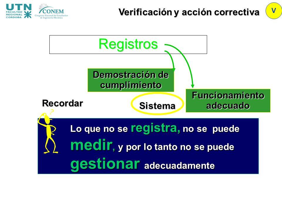 Registros Verificación y acción correctiva