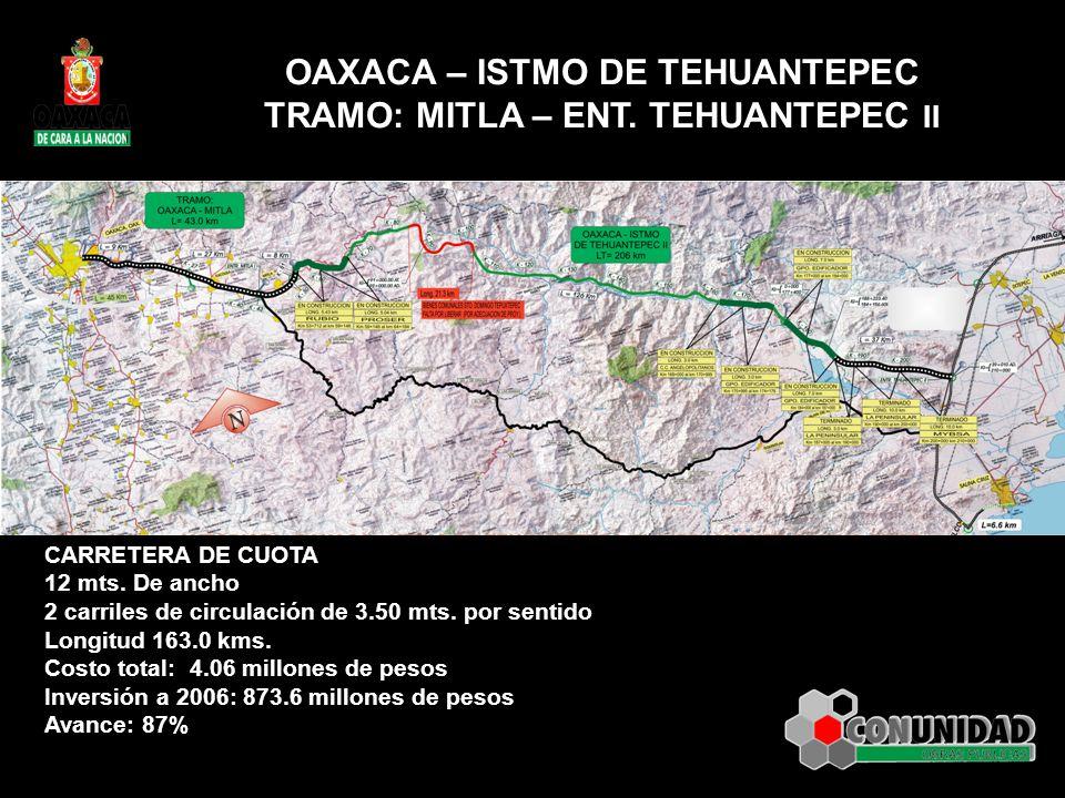 OAXACA – ISTMO DE TEHUANTEPEC TRAMO: MITLA – ENT. TEHUANTEPEC II