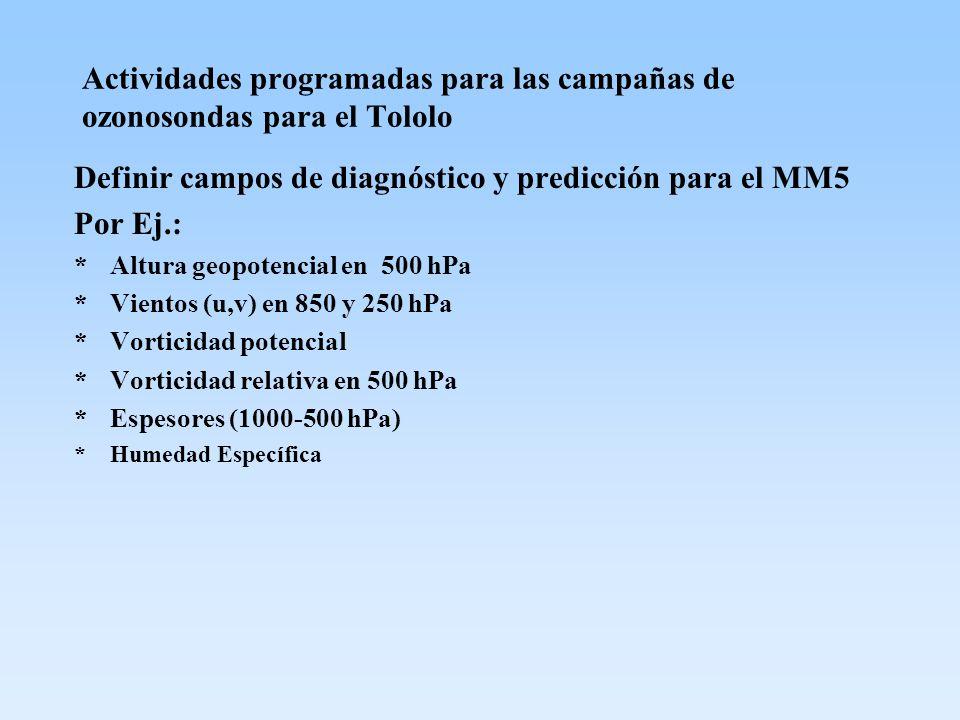 Definir campos de diagnóstico y predicción para el MM5 Por Ej.:
