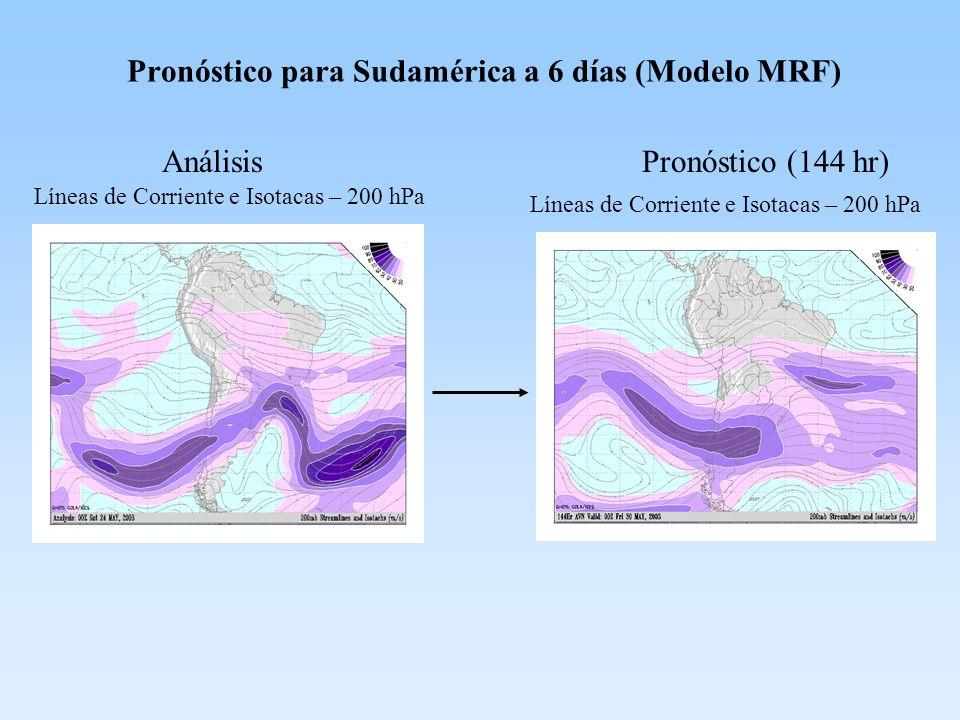 Pronóstico para Sudamérica a 6 días (Modelo MRF)