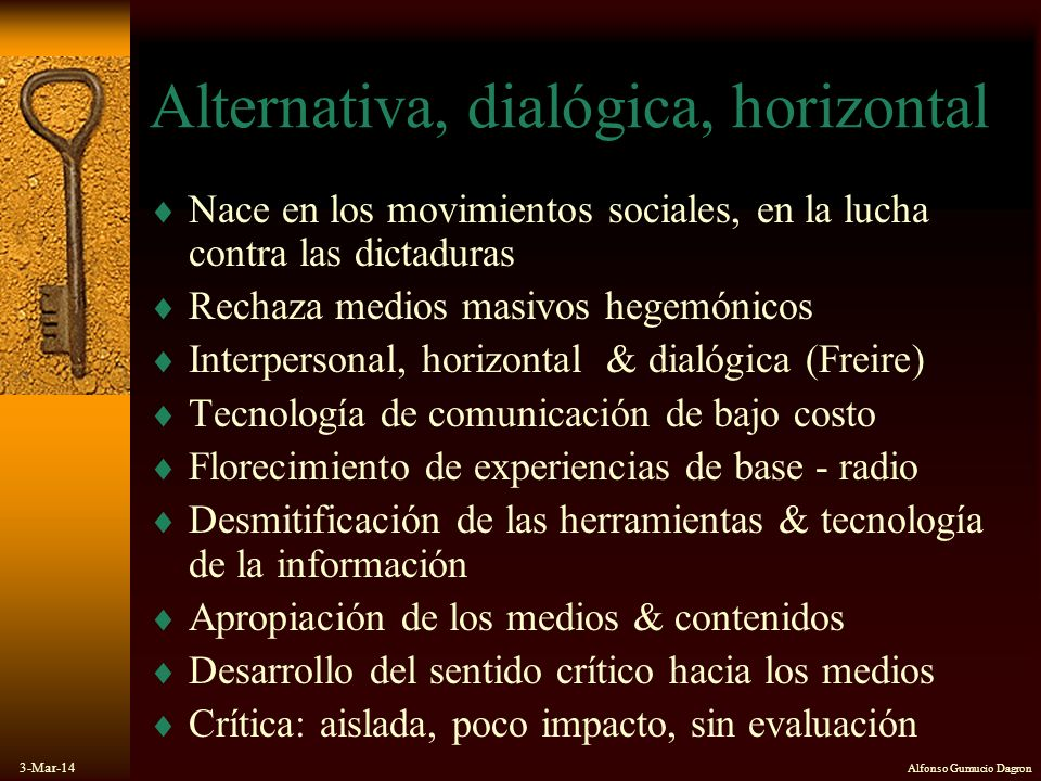 Alternativa, dialógica, horizontal