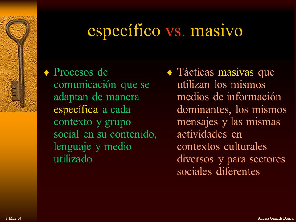 específico vs. masivo