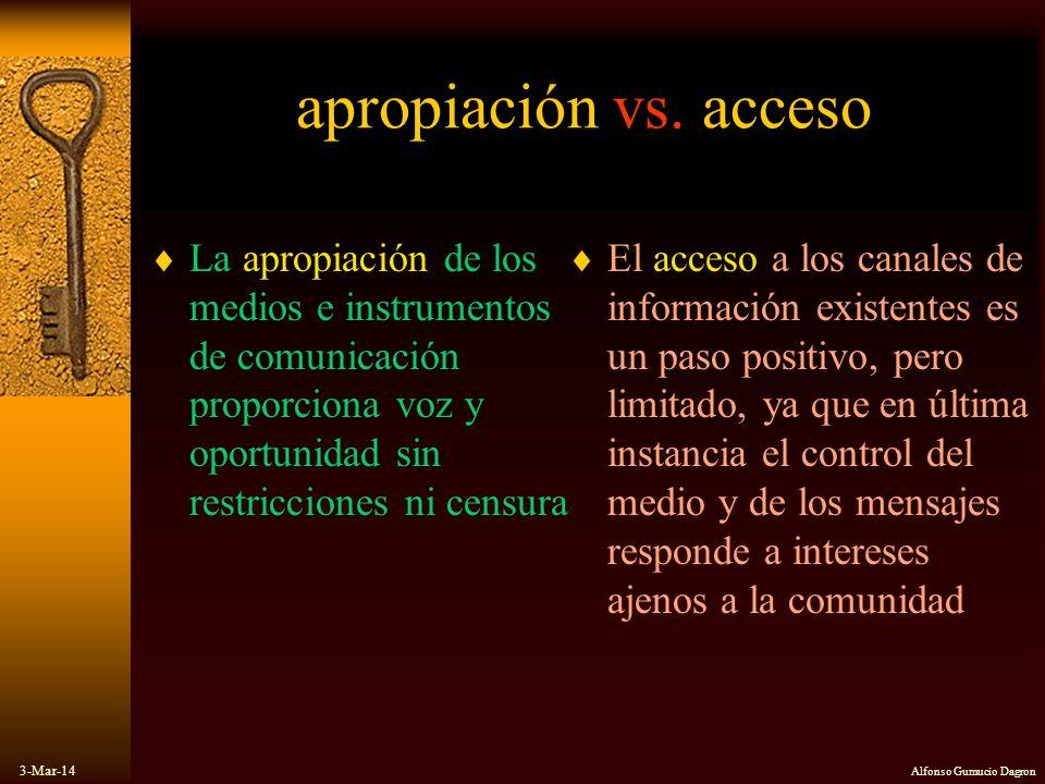apropiación vs. acceso La apropiación de los medios e instrumentos de comunicación proporciona voz y oportunidad sin restricciones ni censura.
