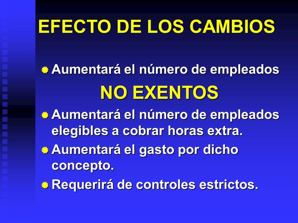 EFECTO DE LOS CAMBIOS Aumentará el número de empleados NO EXENTOS
