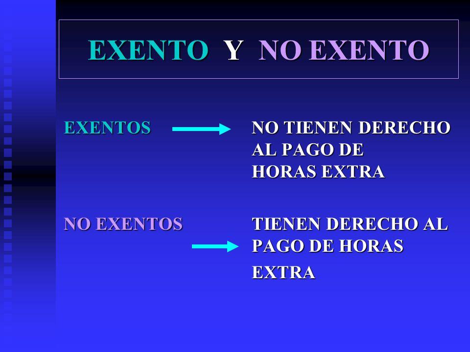 EXENTO Y NO EXENTO EXENTOS NO TIENEN DERECHO AL PAGO DE HORAS EXTRA