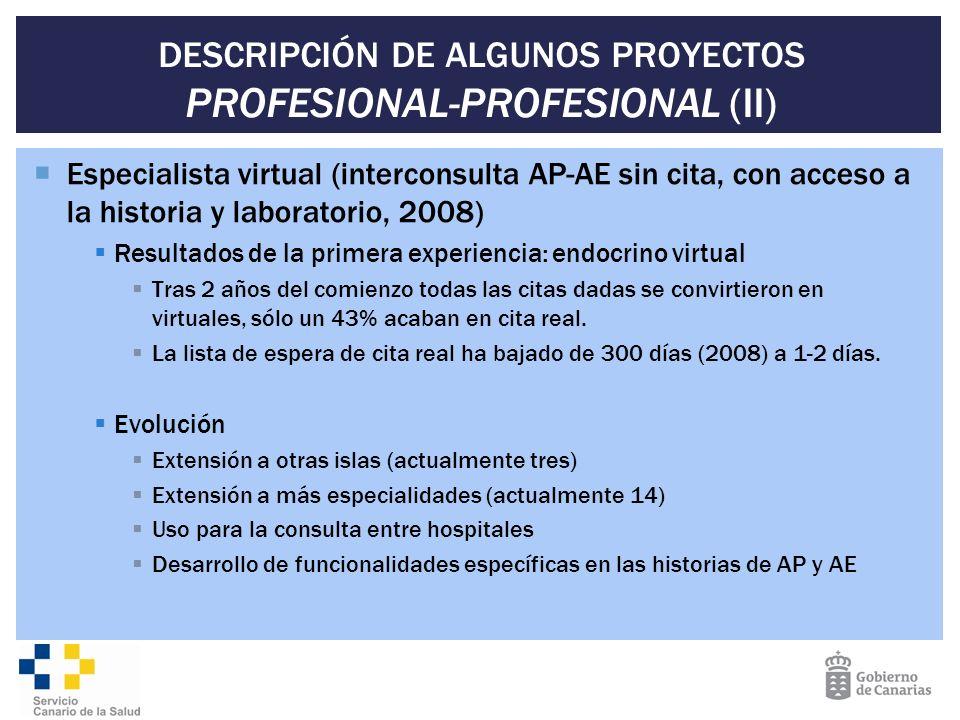 DESCRIPCIÓN DE ALGUNOS PROYECTOS PROFESIONAL-PROFESIONAL (II)