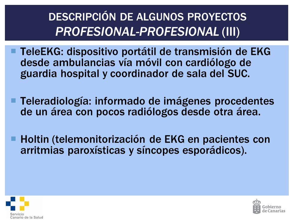 DESCRIPCIÓN DE ALGUNOS PROYECTOS PROFESIONAL-PROFESIONAL (III)
