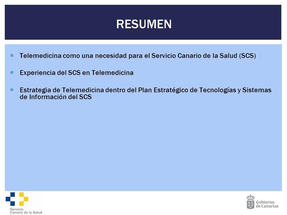 RESUMEN Telemedicina como una necesidad para el Servicio Canario de la Salud (SCS) Experiencia del SCS en Telemedicina.