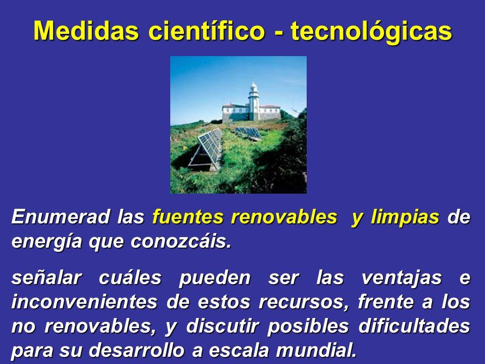 Medidas científico - tecnológicas