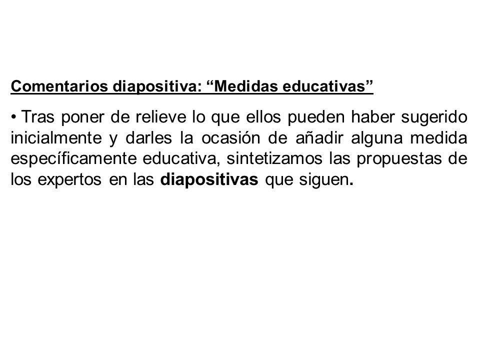 Comentarios diapositiva: Medidas educativas
