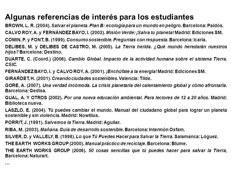 Algunas referencias de interés para los estudiantes