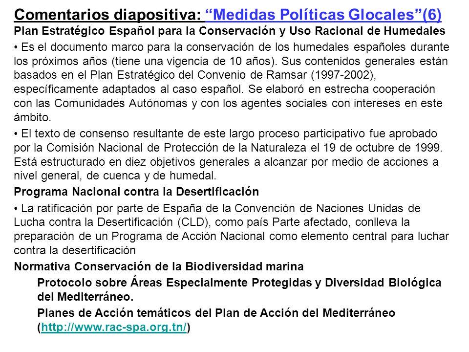 Comentarios diapositiva: Medidas Políticas Glocales (6)
