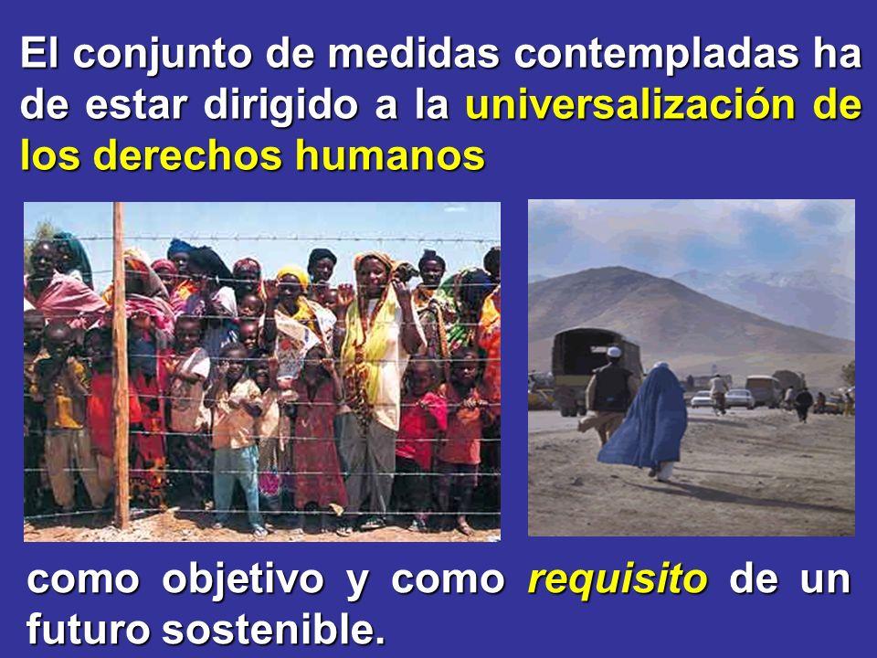 El conjunto de medidas contempladas ha de estar dirigido a la universalización de los derechos humanos