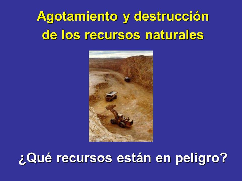 Agotamiento y destrucción de los recursos naturales