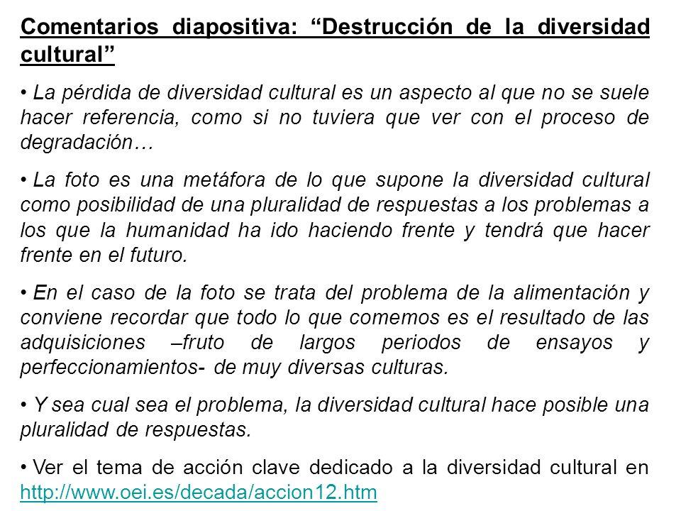Comentarios diapositiva: Destrucción de la diversidad cultural