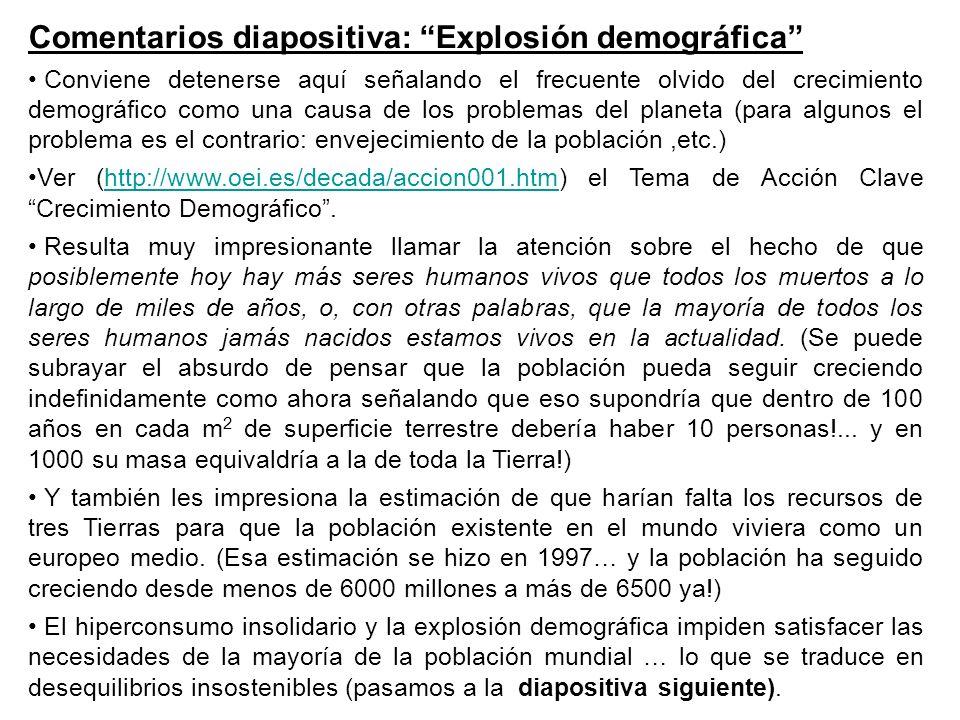 Comentarios diapositiva: Explosión demográfica