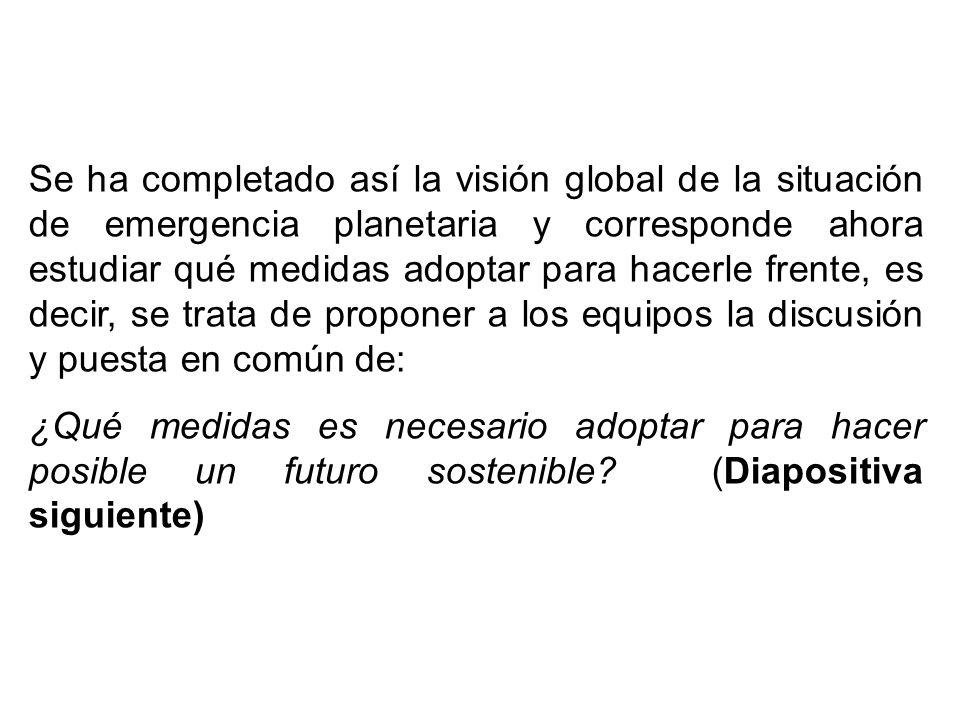 Se ha completado así la visión global de la situación de emergencia planetaria y corresponde ahora estudiar qué medidas adoptar para hacerle frente, es decir, se trata de proponer a los equipos la discusión y puesta en común de: