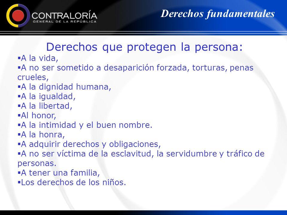 Derechos que protegen la persona: